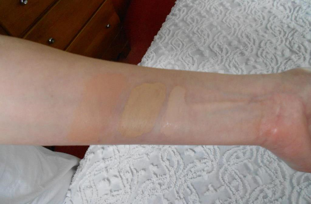 swatches of Exuviance CoverBlend makeup