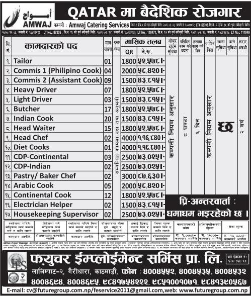FREE VISA FREE TICKET Jobs For Nepali In Qatar Salary- Rs.1,16,840/