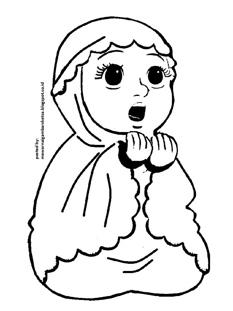 Mewarnai Gambar Mewarnai Gambar Sketsa Kartun Anak Muslimah 25