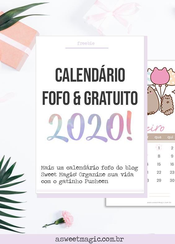 Freebie: Calendário 2020 Gratuito - Pusheen Cat