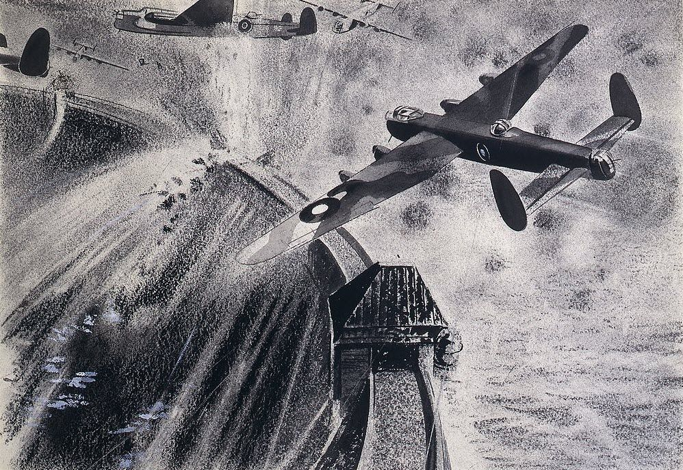 Lancaster bombers attacking German dams during Operation Chastise