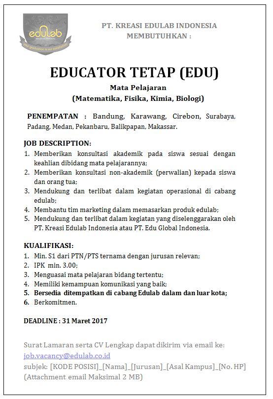 Lowongan Kerja Pt Kreasi Edulab Indonesia Lowongan Kerja