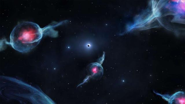 Ilustração artística dos objetos de classe G em torno do buraco negro central da Via Láctea