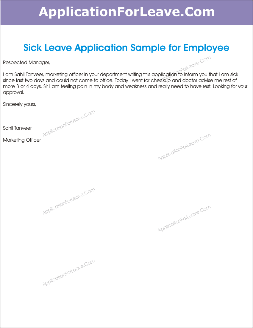Leave Application For Office Sample