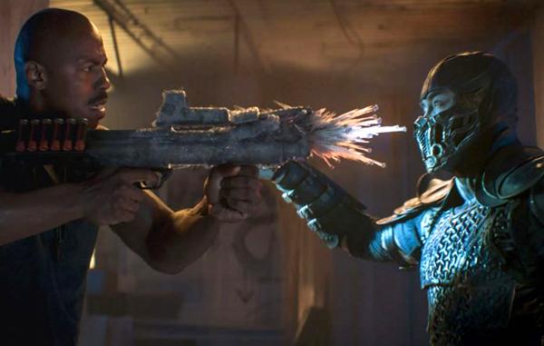 Jax (Mehcad Brooks) confronts Sub-Zero (Joe Taslim) in 2021's MORTAL KOMBAT.