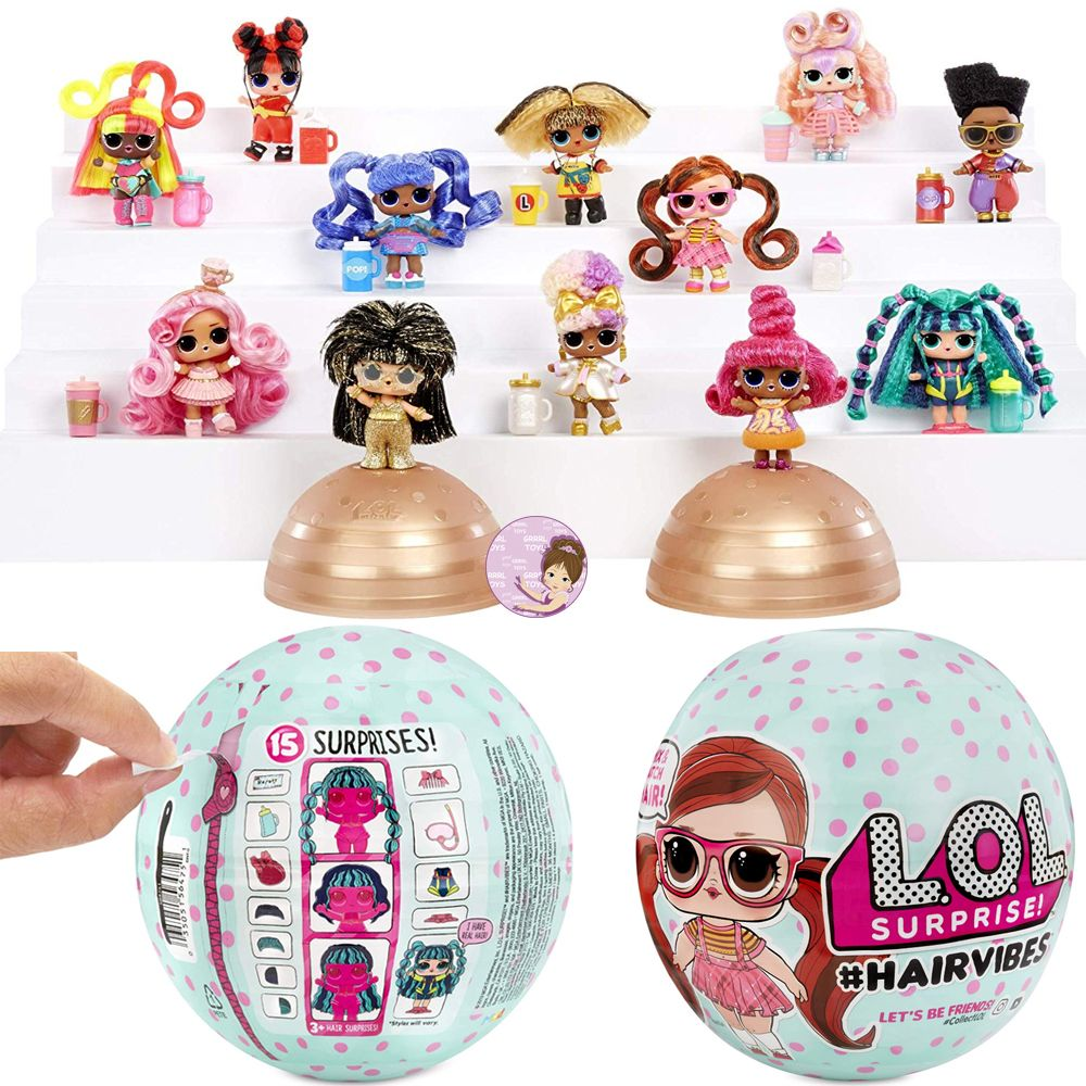 L.O.L. Surprise #hairvibes doll checklist with collection of 12 toys