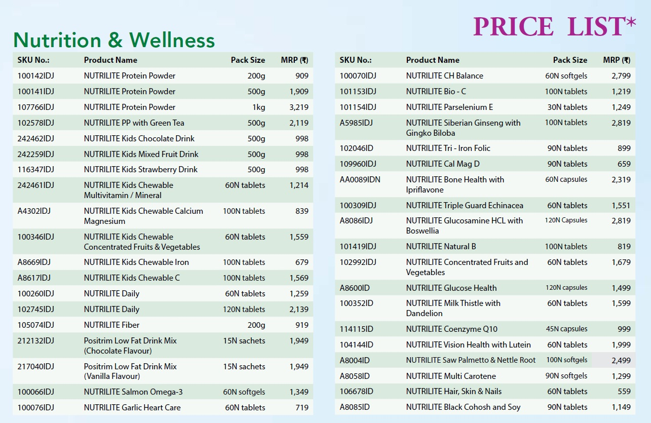 amway nutrilite products price list