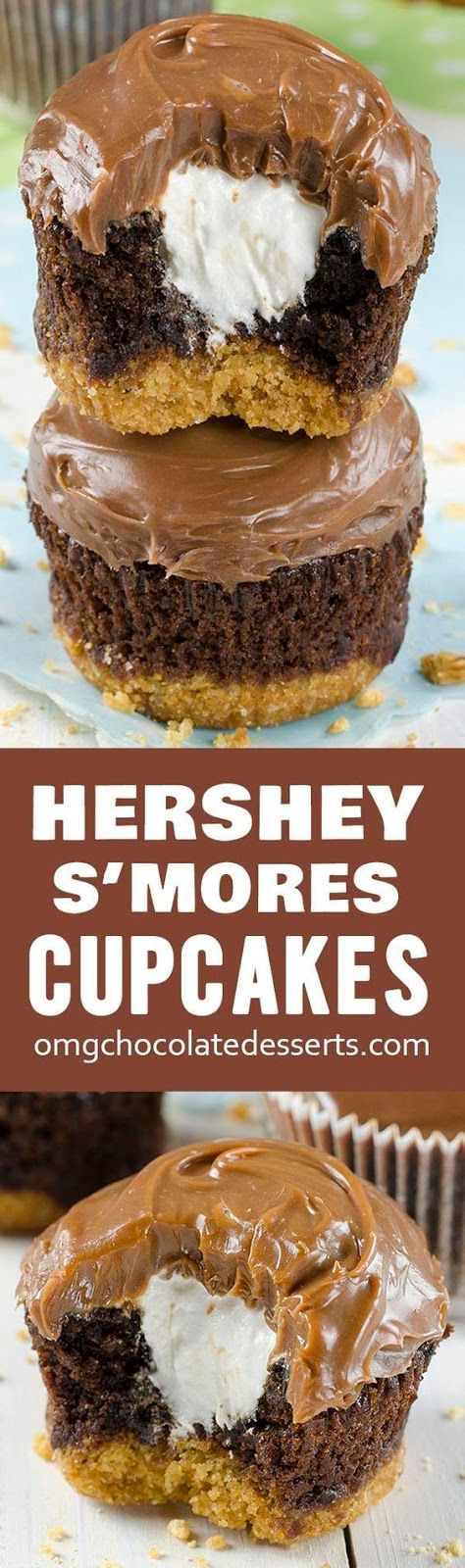 Hershey's S'mores Cupcakes – delicious chocolate cupcakes with a graham cracker crust, filled with light and fluffy marshmallow filling and topped with milk chocolate ganache