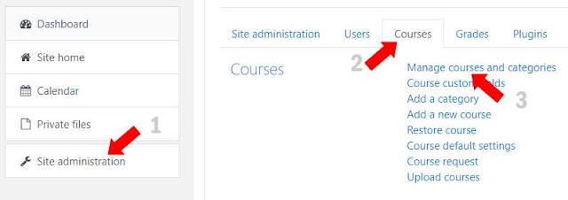 Manage course and categories