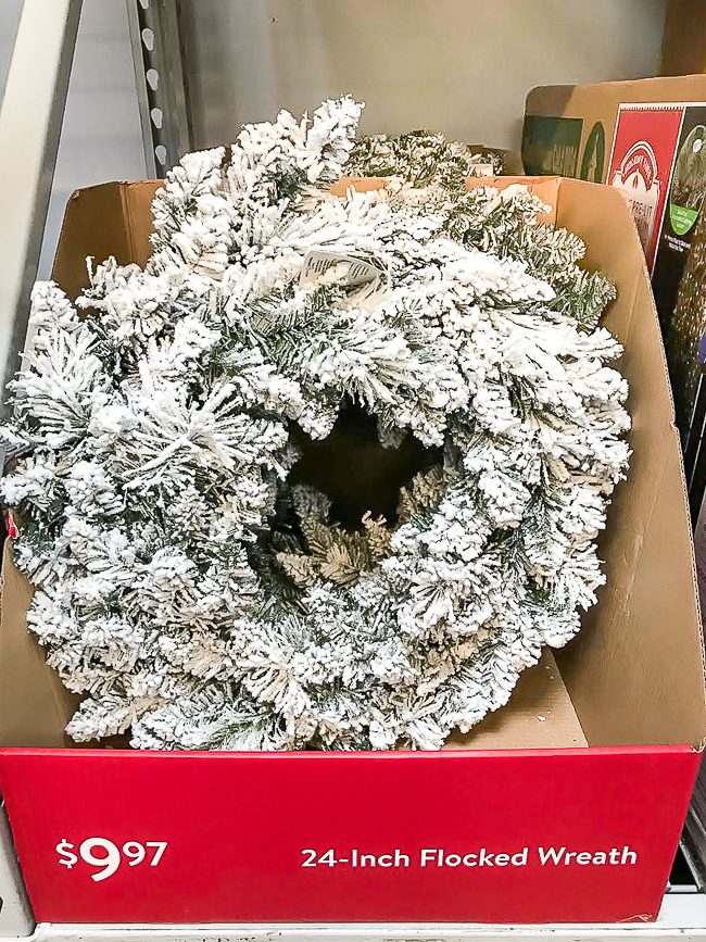 Inexpensive flocked Christmas wreath from Walmart
