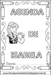 Capa para agenda para colorir