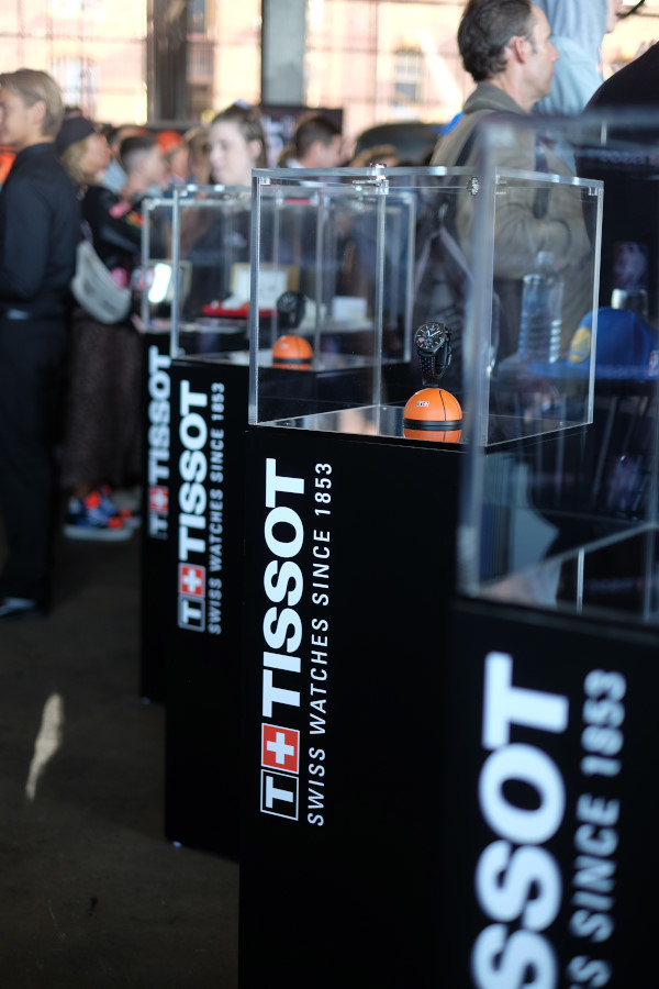 NBA Series watches in a row of display cases - TISSOT NBA Finals Party Sydney - Photography by Kent Johnson.