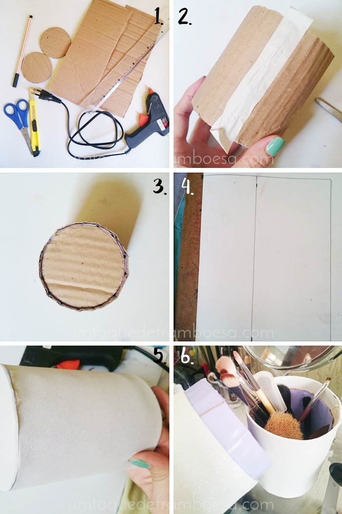 Tutorial como fazer um porta-pincéis com tampa