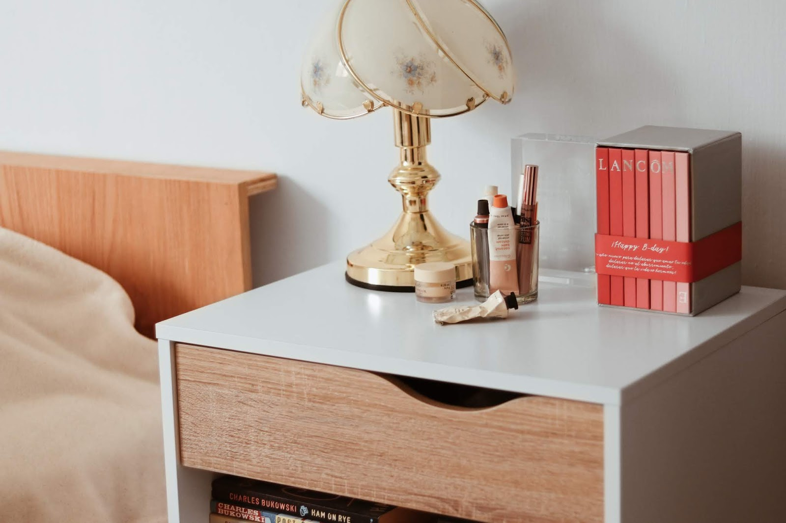 bedside table beauty essentials