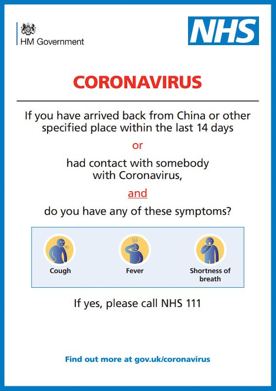 NHS / government coronavirus symptoms advice