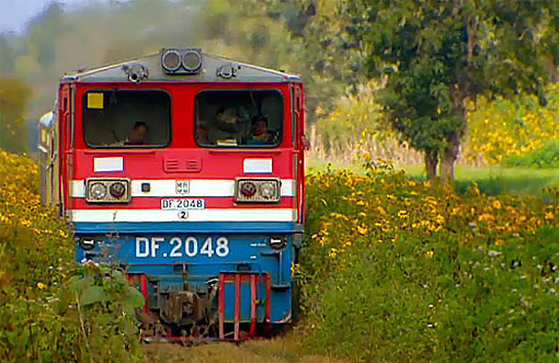 in the countryside a diesel locomotive