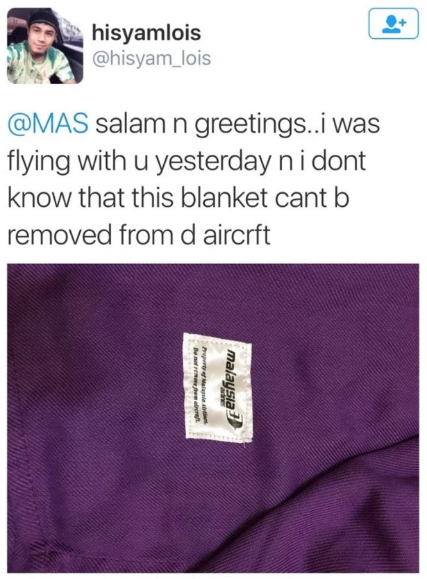 Respon Mengejutkan MAS Apabila Pelanggan Terbawa Balik Selimut dan Mahu Pulangkan Semula