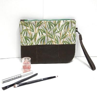 Сумка кошелек Зеленый бамбук - хлопок, коричневая натуральная кожа. Ручная работа, доставка почтой или курьером