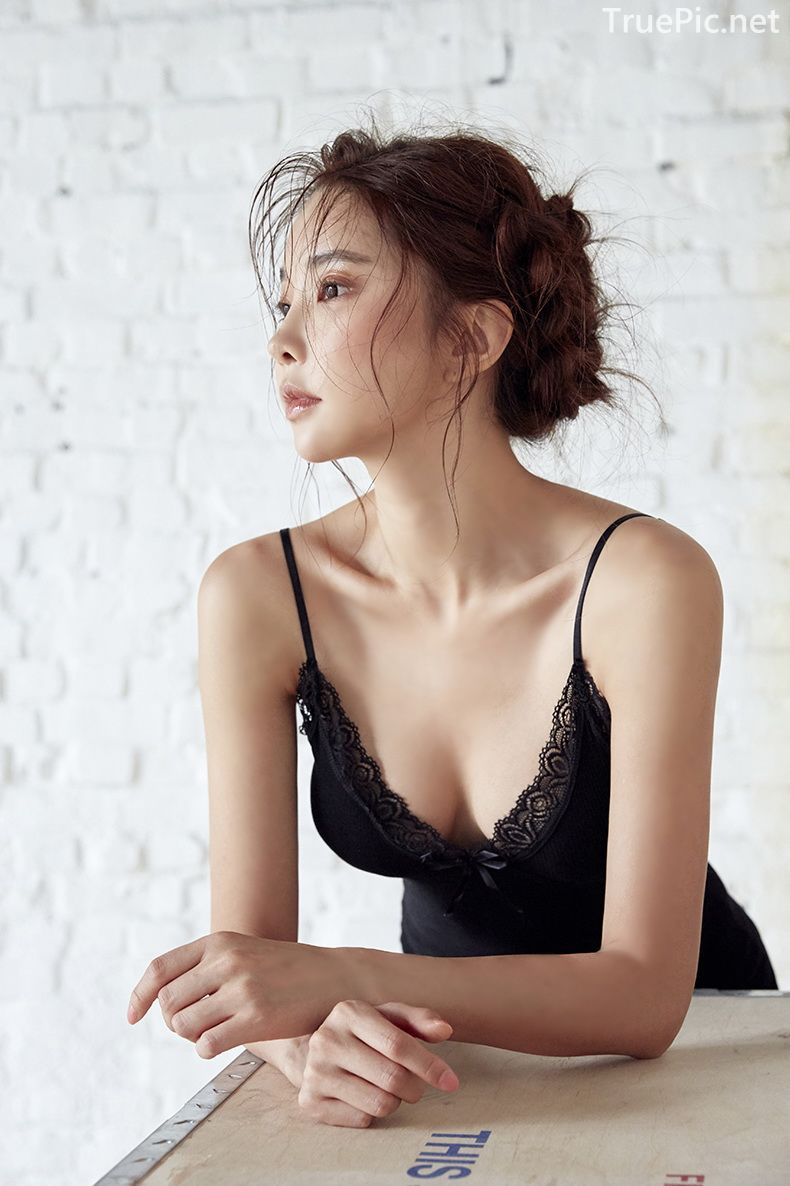 Korean model and fashion - Park Soo Yeon - Full Black Camisole and Sock