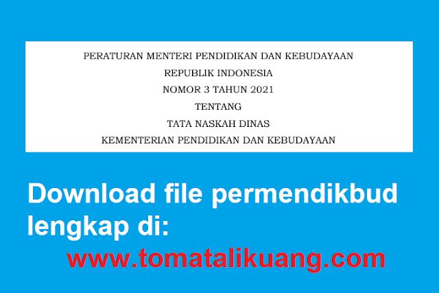 download permendikbud ri nomor 3 tahun 2021 tentang tata naskah dinas kemendikbud pdf