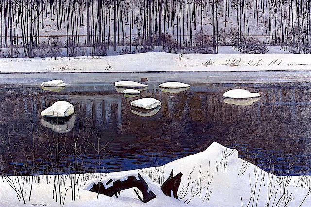 a Rockwell Kent painting of snowy stones in a winter river