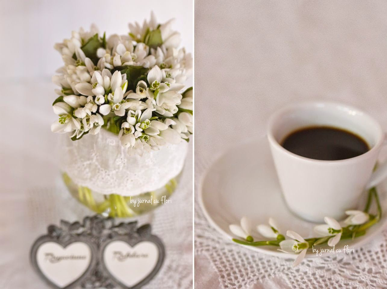 poza foto buchet de ghiocei in pahar cu dantela si rama cu inimi si cafea cu flori pe farfurie