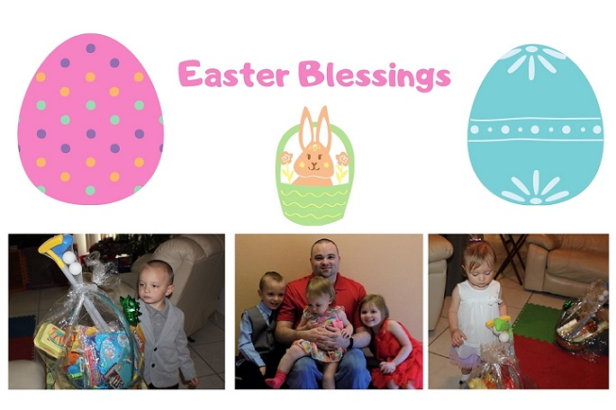 this is a photo of my grandchildren and my son at Easter