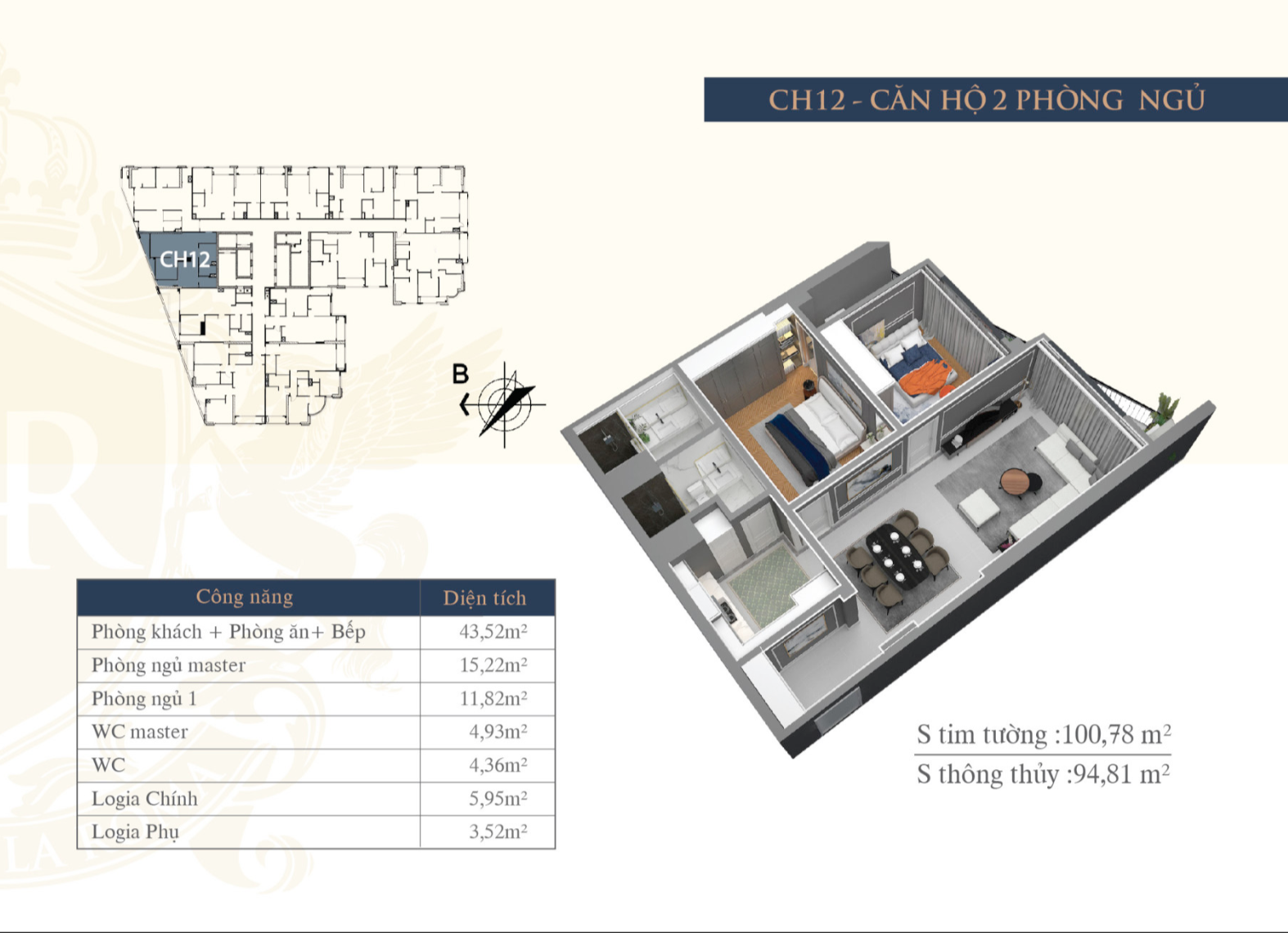 Mặt bằng chi tiết căn hộ CH12 Hateco Huỳnh Thúc Kháng