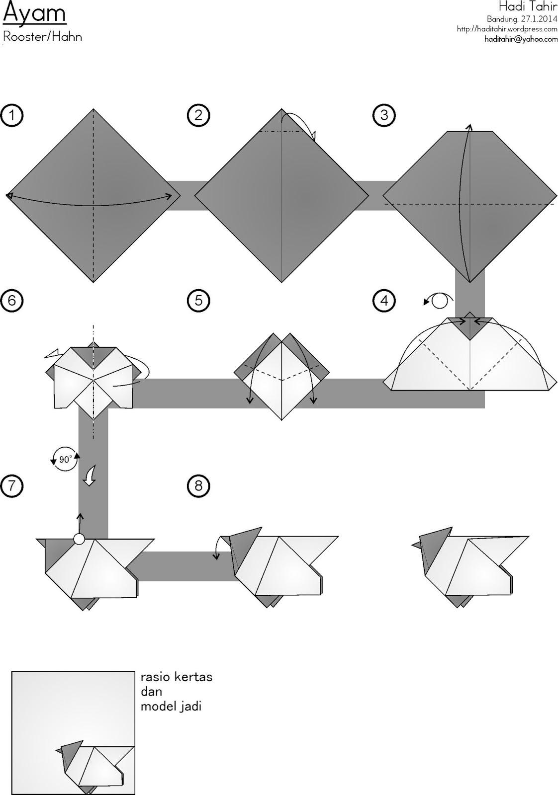 Tutorial Origami Ayam Sederhana Easy Rooster