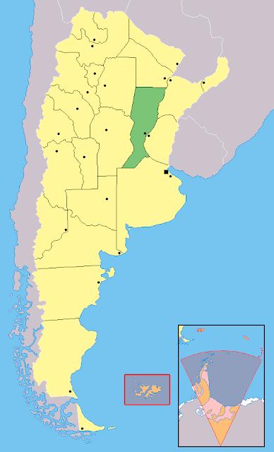 Mapa de localização da província de Santa Fé - Argentina