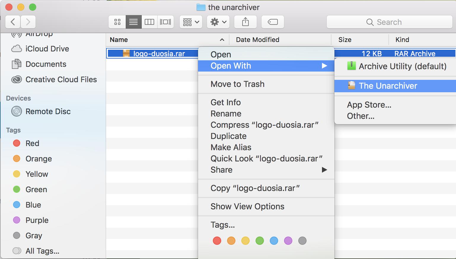 Ekstrak File RAR di Mac
