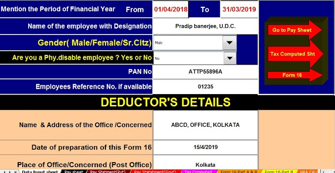 Download Automated Income Tax Preparation Excel Based Software All in One for Govt and Non-Govt Employees for F.Y.2018-19 With Income Tax Deductions and Exemptions for F.Y. 2018-19