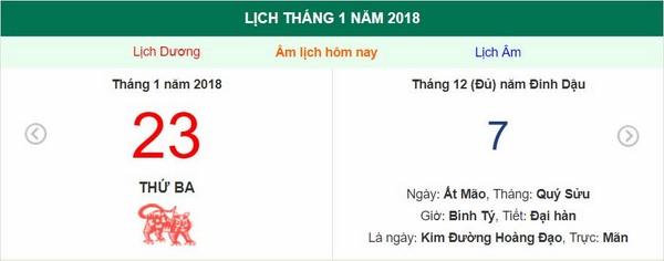 Xem ngày tốt xấu, giờ hoàng đạo - Xem lịch Thứ Ba ngày 23 tháng 1 năm 2018