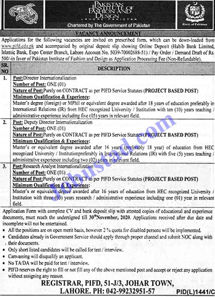 Jobs in Pakistan Institute of Fashion and Design (PIFD) Nov 2020