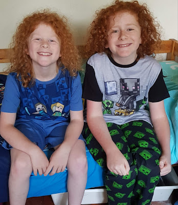 Two boys wearing Vanilla Underground licensed minecraft pyjamas