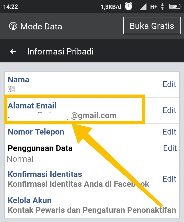 Kode email facebook