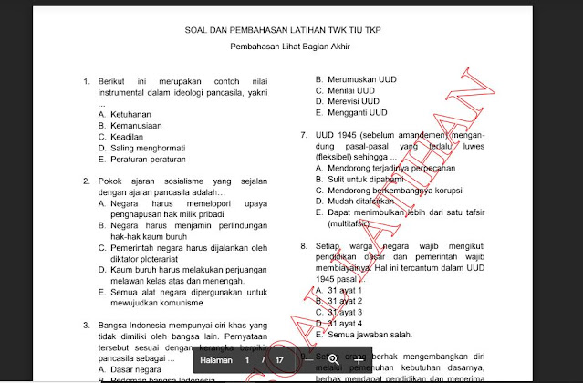 Download Soal Latihan CPNS