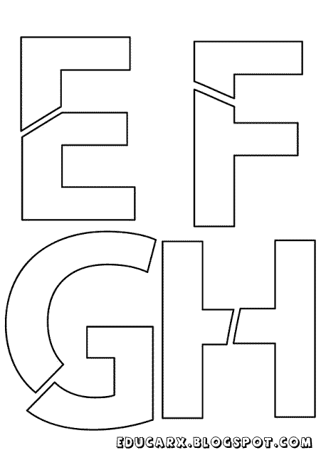 Modelo de letras para cartaz e f g h