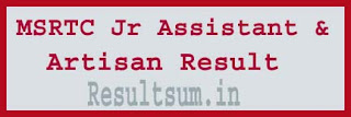 MSRTC Jr Assistant & Artisan Result 2015