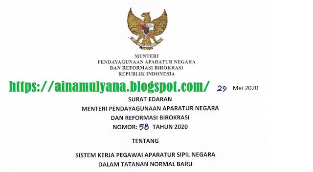 Mulai Tanggal 5 Juni 2020 Berdasarkan SE Menpan Nomor 58 Tahun 2020, Perpanjangan WFH Dicabut
