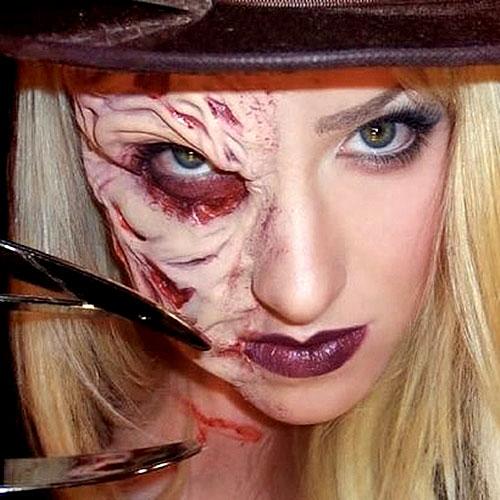 Original maquillaje para Halloween de Freddy Krueger