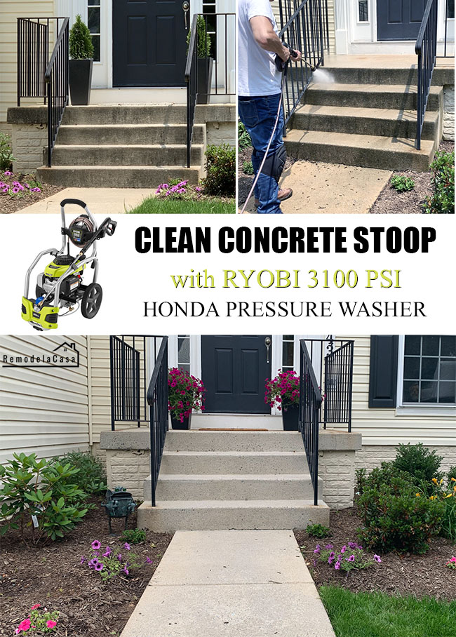 Ryobi 3100 psi Honda pressure washer - how to clean concrete stoop
