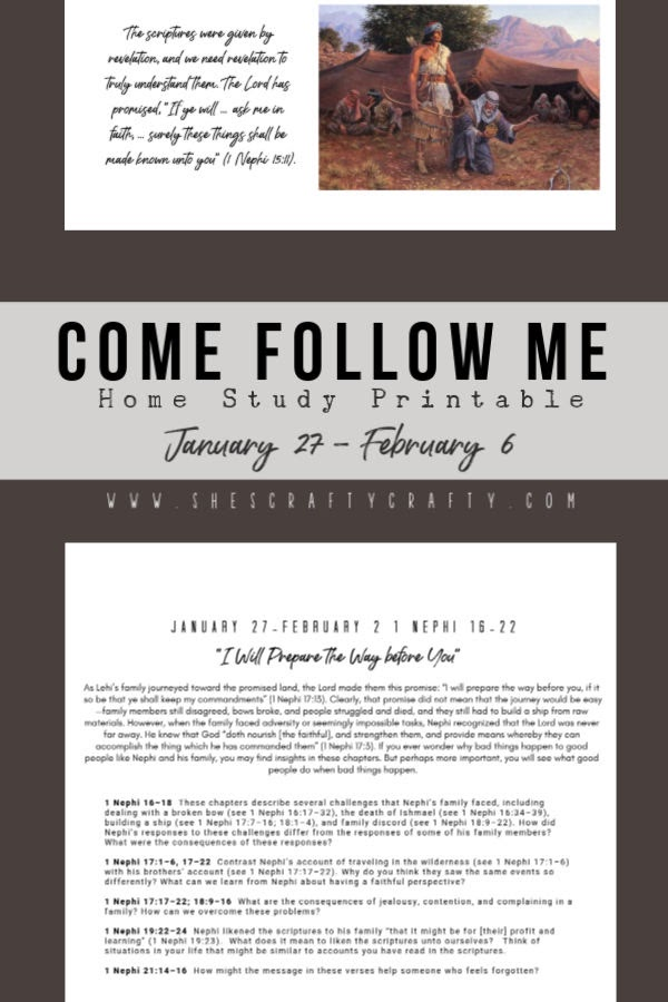 Come Follow Me Home Study Printable  |  Jan 27- Feb 6  |  She's Crafty