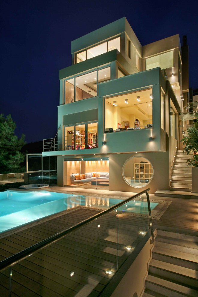 Modern villa greece most beautiful houses in the world for Most modern house in the world