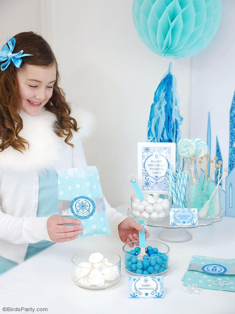 A Frozen Inspired Birthday Party - full of creative DIY ideas, decorations, printables, food, drinks, favors and games ideas for a winter celebration! | BirdsParty.com