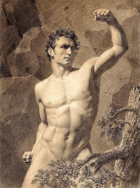 Louis-Eugène Larivière (1801-1823) Nu académique d'homme avec le bras levé. Collection privée