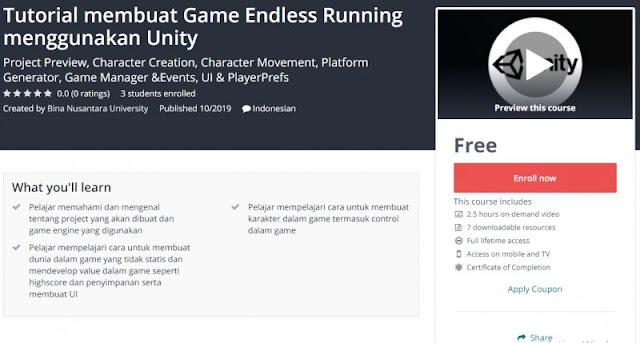 [100% Free] Tutorial membuat Game Endless Running menggunakan Unity