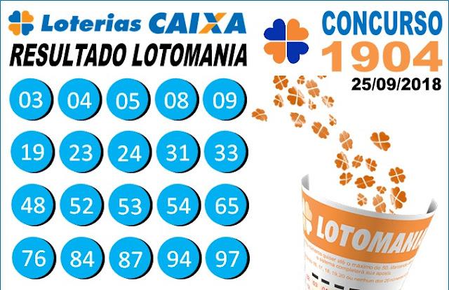 Resultado da Lotomania concurso 1904 de 25/09/2018 (Imagem: Informe Notícias)