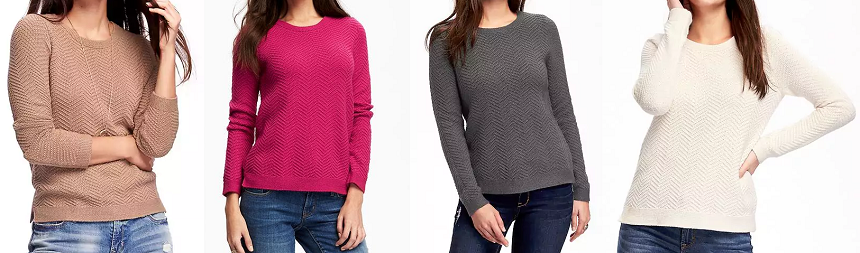Old Navy Relaxed Textured Crew Neck Sweater $16 (reg $35)