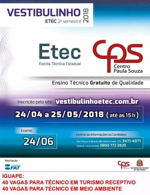 Etec abre inscrições para cursos técnicos de turismo receptivo e técnico em meio ambiente